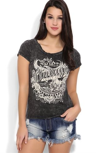 Short Sleeve Mineral Wash Tee with Motorcycle Screen Print
