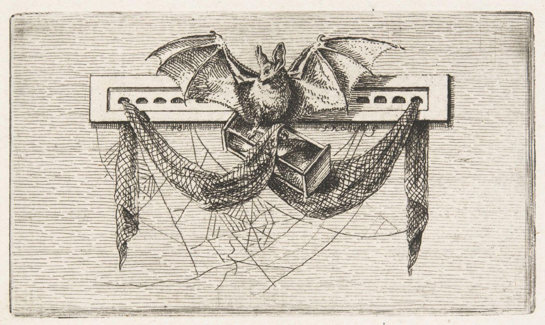 """Ferdinand Kobell (German, 1740-1799): Vignette with a Bat and a Spider Web. From Baron O. H. von Gemmingen (translator), """"Milton's Allegro und Penseroso"""" (Mannheim: Schwanischen Buchhandlung, 1782)."""