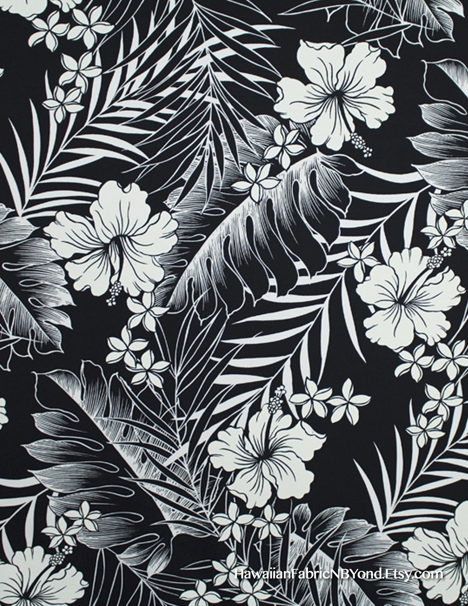 Fabric Hibiscus Flowers Monstera And Tropical Ferns In Black And Off White By Hawaiianfabricnbyond Ets Black And White Flowers Tropical Illustration Artwork