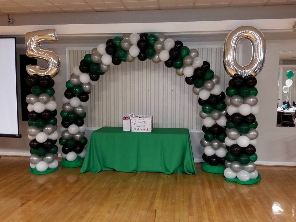 50th Emerald Green Silver And Black Balloon Arch And Columns By