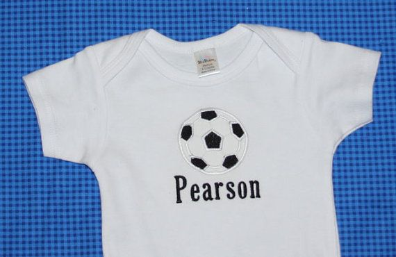 Personalized onesie with appliqued soccer ball by KenaKreations, $18.00