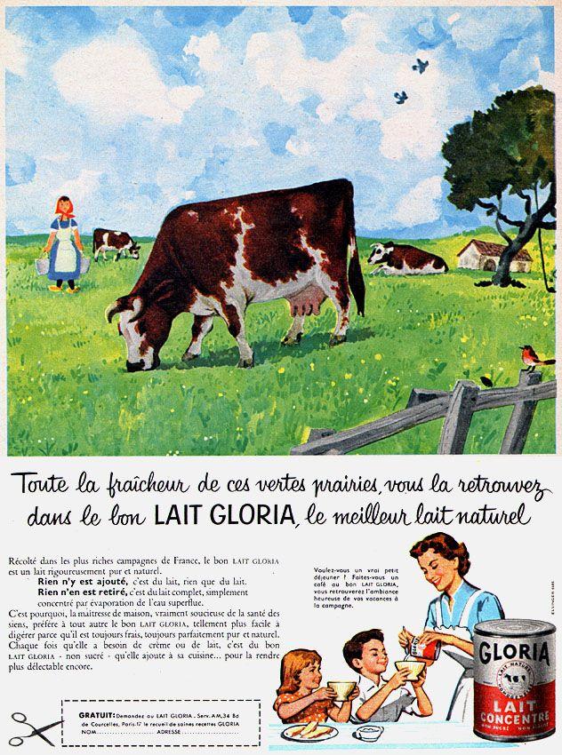 Publicité Gloria - 1958 - lait concentré -