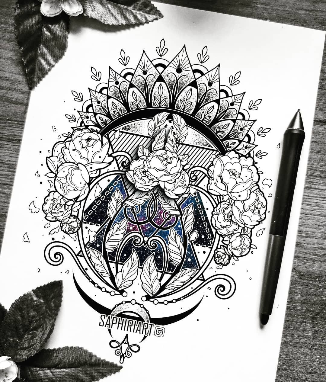 Galaxy Flower Mandala Zentangle Fineart Fineline Tattoo Design