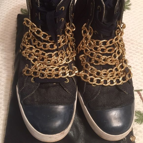 Selling this UES Denim and Blue Leather Mid-High Sneakers in my Poshmark closet! My username is: divazclozet2. #shopmycloset #poshmark #fashion #shopping #style #forsale #UES #Shoes