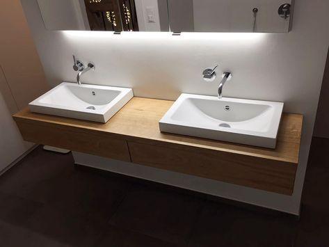 Waschtisch aus eiche mit schubkasten bathroom shower for Badezimmer ideen doppelwaschbecken