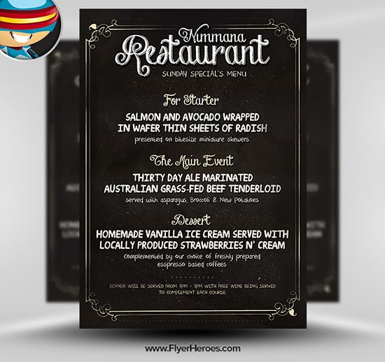 Free Chalk Board PSD Flyer Template Typography \ Poster - dinner menu templates free