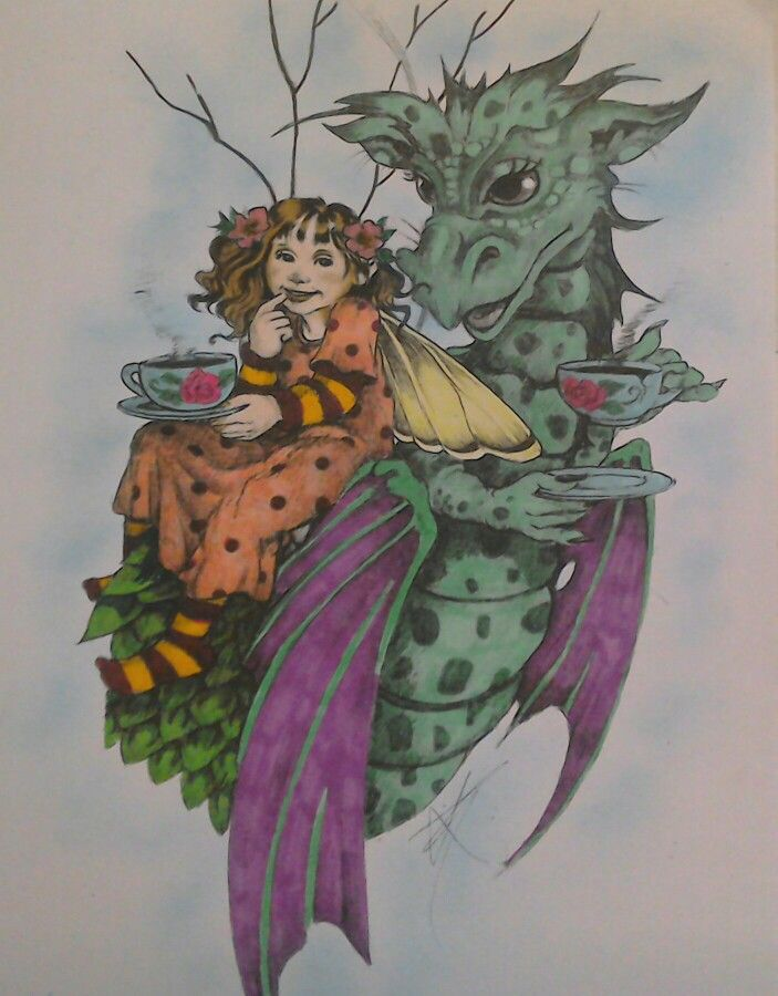From Linda Ravenscrofts Fairy and Fantasy Art. Coloured using Marvy alcohol pens