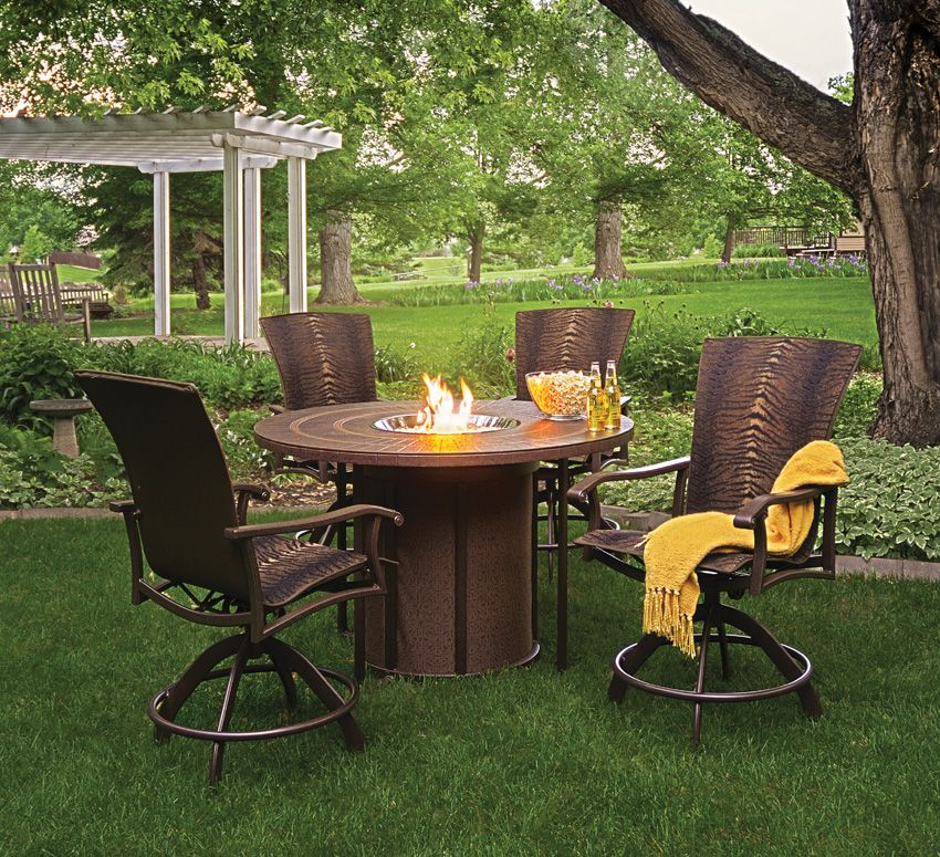 Ridgecrest Cushion Patio Set with Cast Stone Fire Pit Table | Patios ...