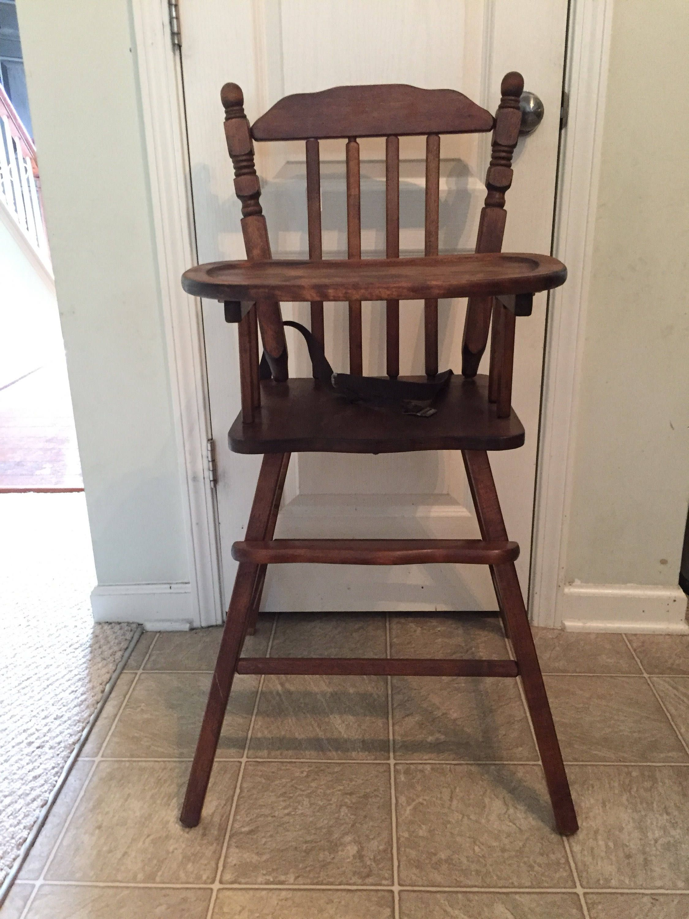 Fully refinished vintage wooden high chair jenny lind
