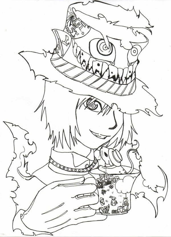 Manga Drawing Mad Hatter Coloring Page Coloring Books Coloring Pages Manga Drawing