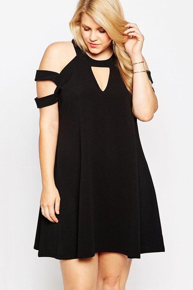 big'n'beautiful little black swing dress   swings, cold shoulder