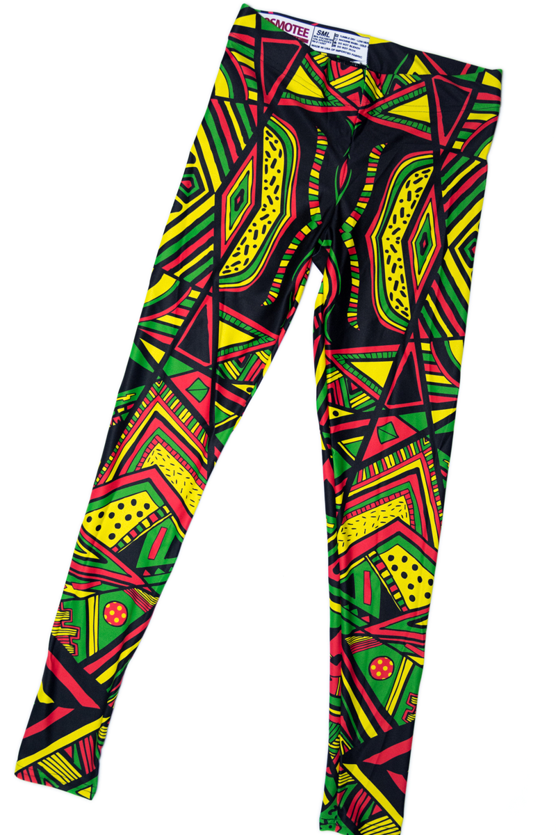 9f2a6b62f7f56 Aztec Triangles - Rasta Color Leggings via COSMOTEE. Click on the image to  see more!