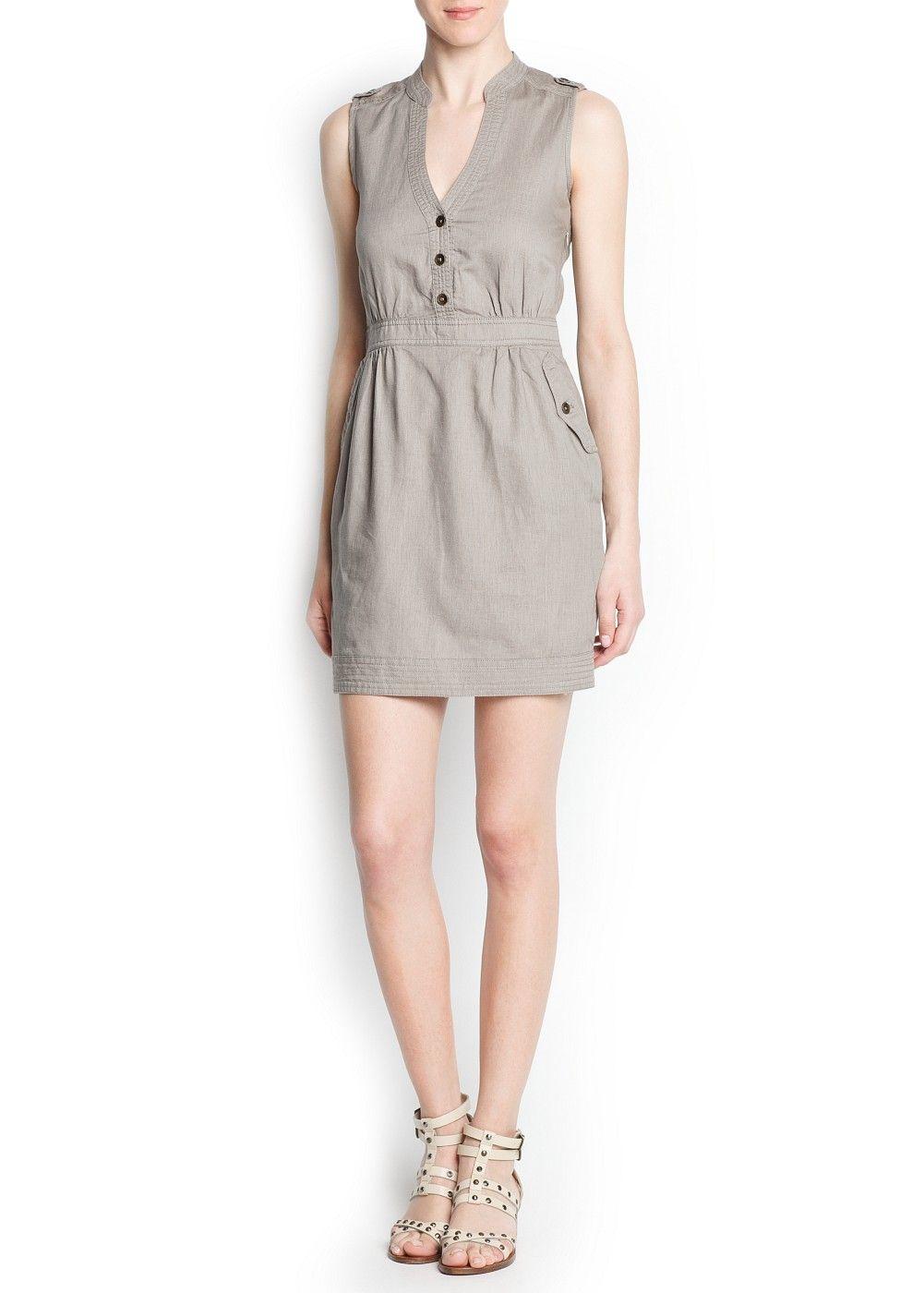 2961e216a Vestido camisero lino y algodón - Mujer