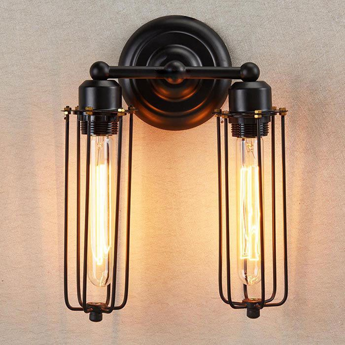 Industrial Edison Mini Black Long Wire Cage 2-light Wall Sconce ...
