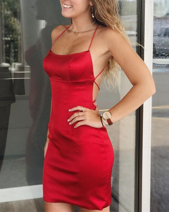 Red Satin Homecoming Dresses,Halter Cross Back Homecoming Dress -   16 dress Party red ideas