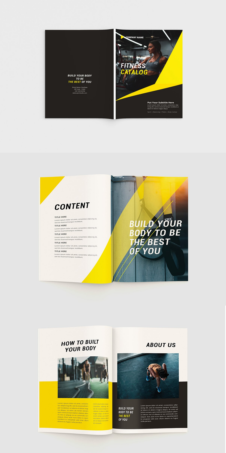 Fitness Catalog Brochure. This layout is suitable for any project purpose. Very easy to use and cust...