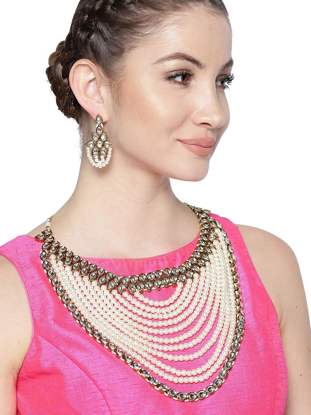 Zaveri pearls royal look multi layered kundan u moti mala necklace