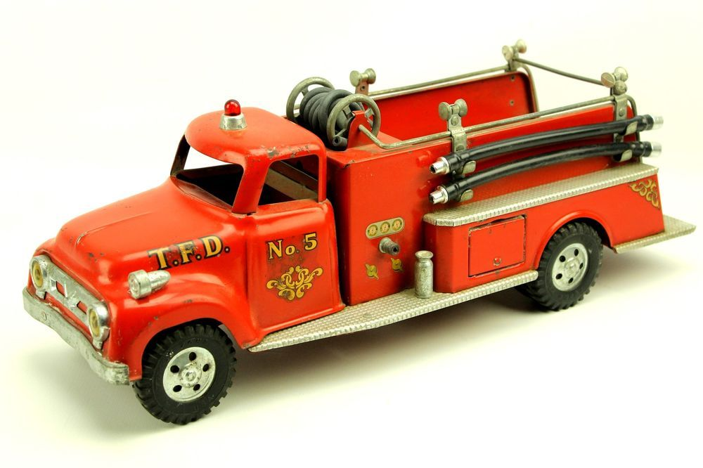 Vintage 1950s Tonka Toys Red Fire Truck Engine 5 Pressed Steel