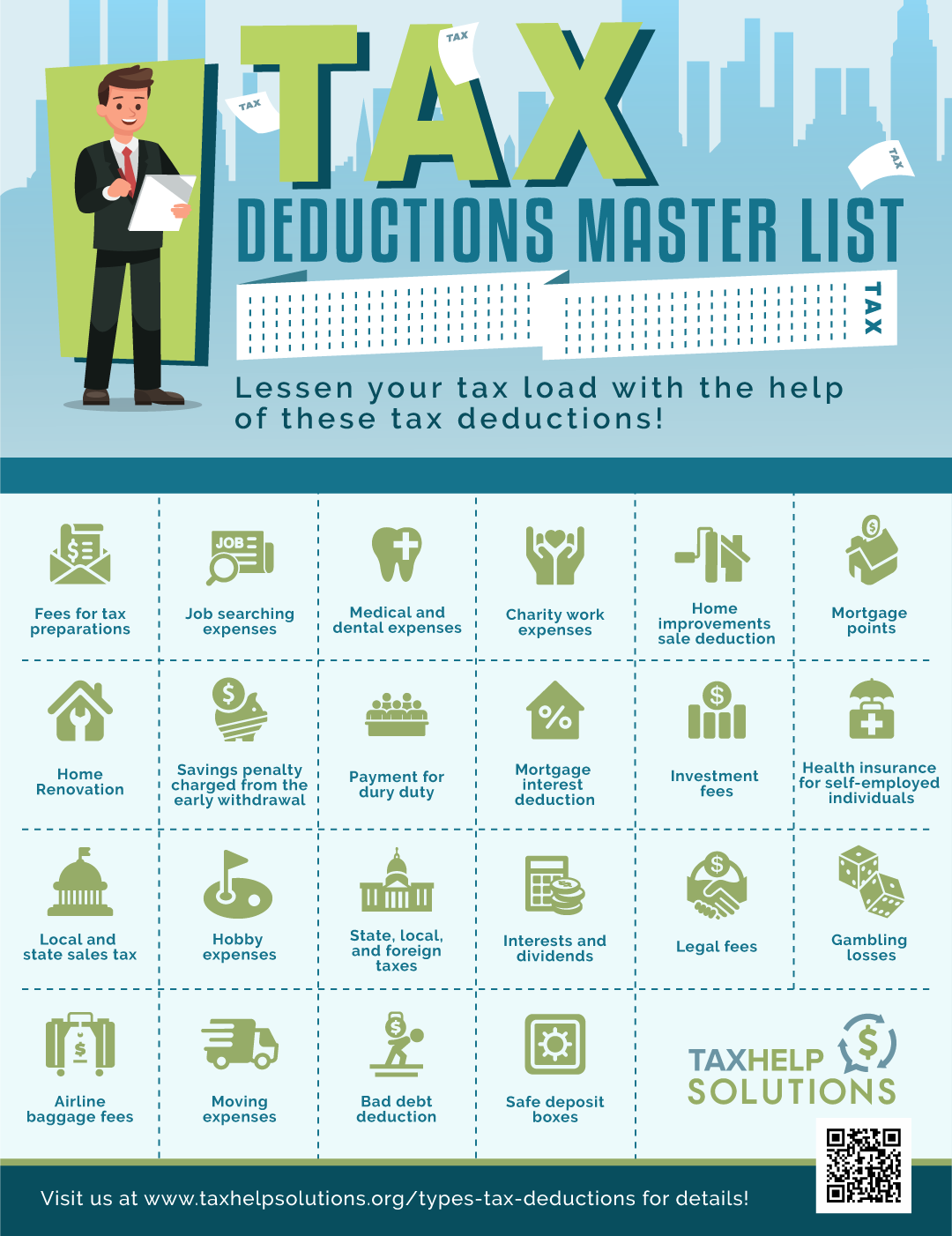the master list of all types of tax deductions | taxreliefcenter