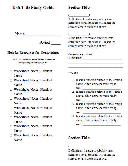 Question Study Guide Template - Various Owner Manual Guide •