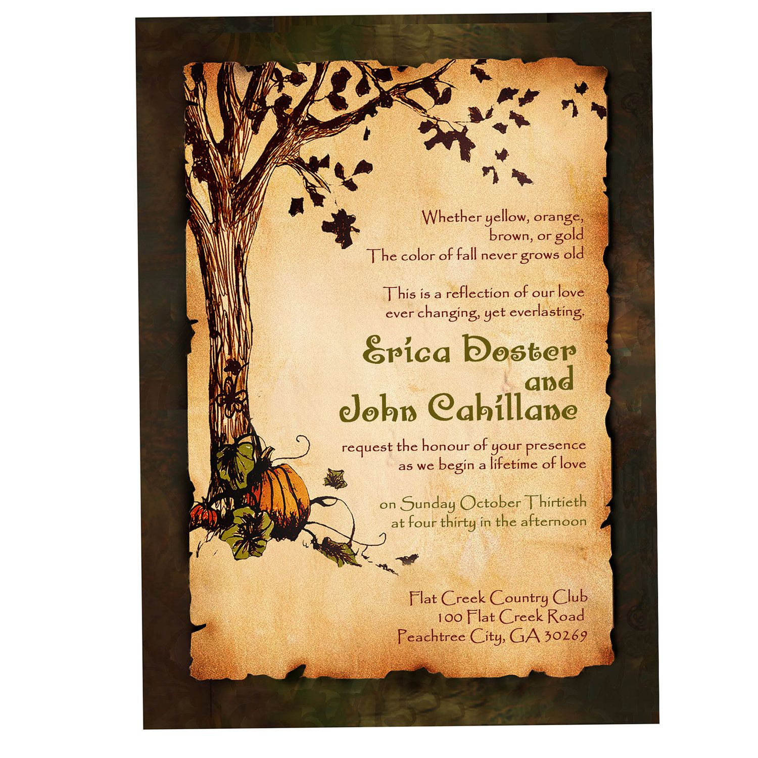 vintage rustic pumpkin and autumn tree wedding invitation fall, Wedding invitations