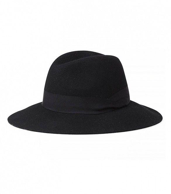 Express Black Wool Felt Fedora Hat in Black