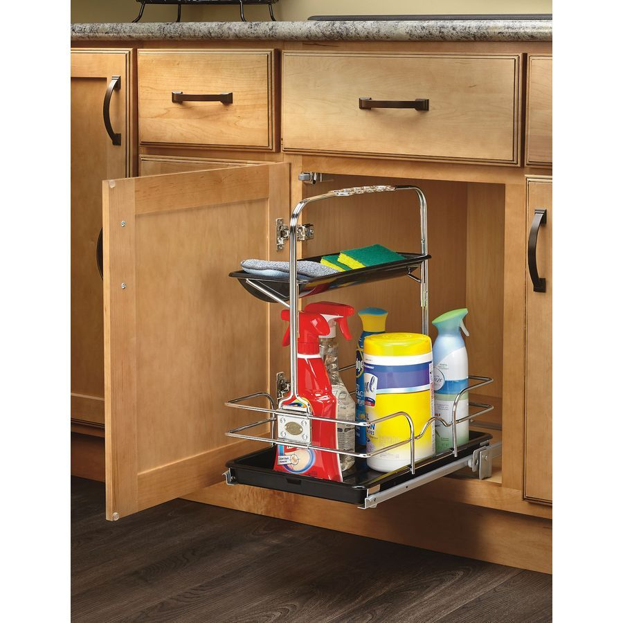 Shop Rev A Shelf 11.25 In W X 16.25 In D X 19.5 In H 1 Tier Metal Pull Out  Cabinet Basket At Lowes.com