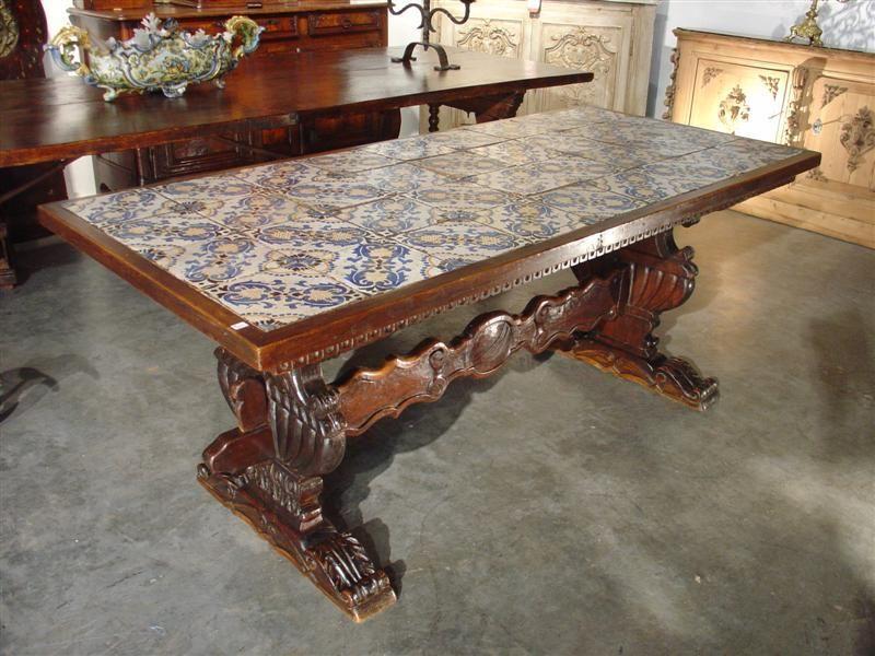 Beautiful Portuguese Tiles Spanish Renaissance Base Dining Table Antique Table Portuguese Tiles Renaissance Furniture