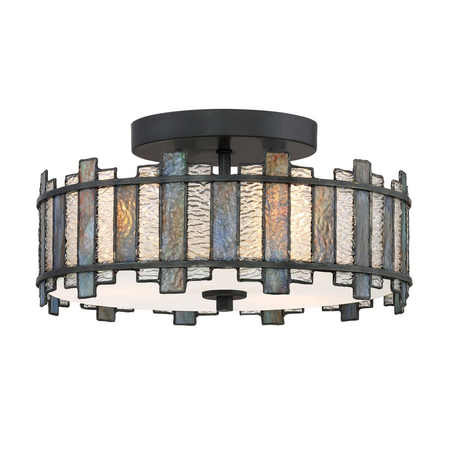 89.98 Quoizel Sentry 14-in W Black Tiffany-Style Flush Mount Light ...