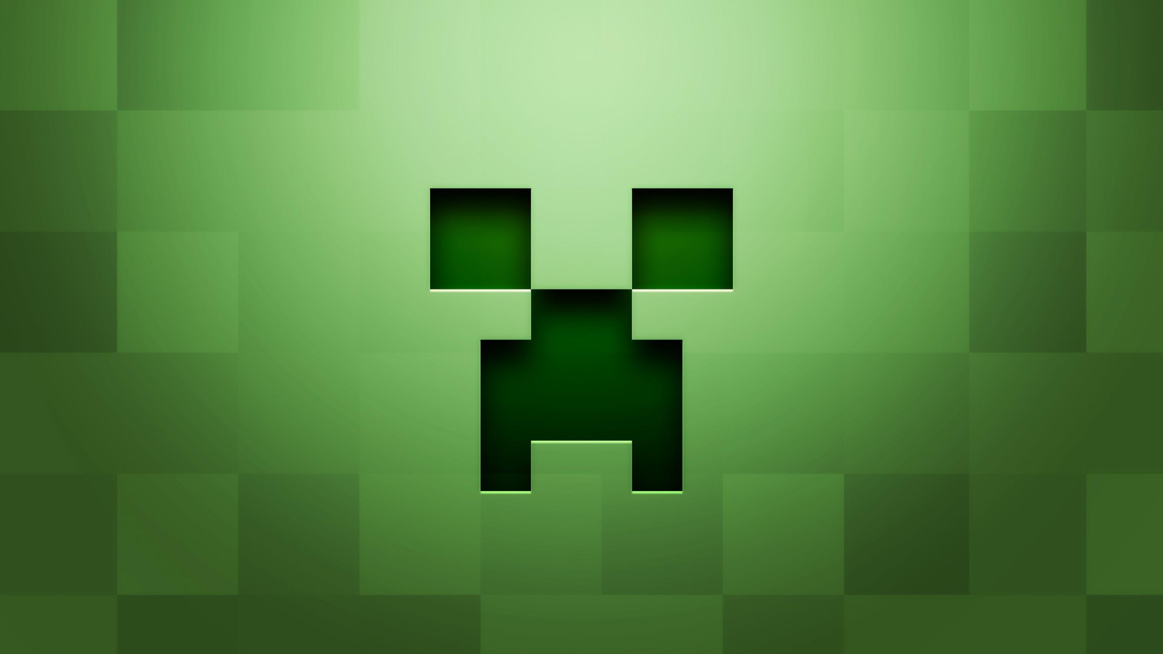 3840x2160 Wallpaper Minecraft Background Graphics Green Jeux