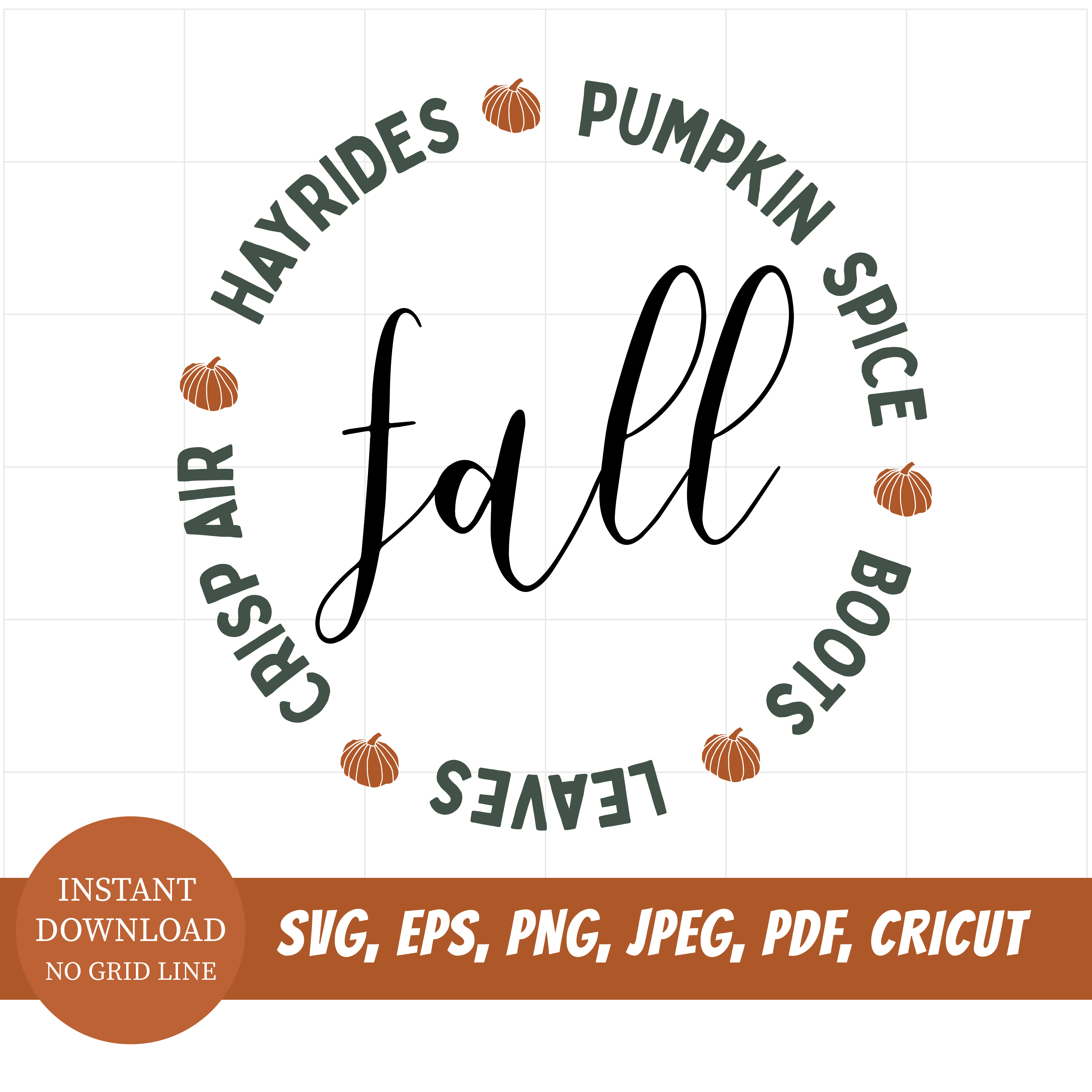 Fall Things Circle Digital instant svg cut file printable