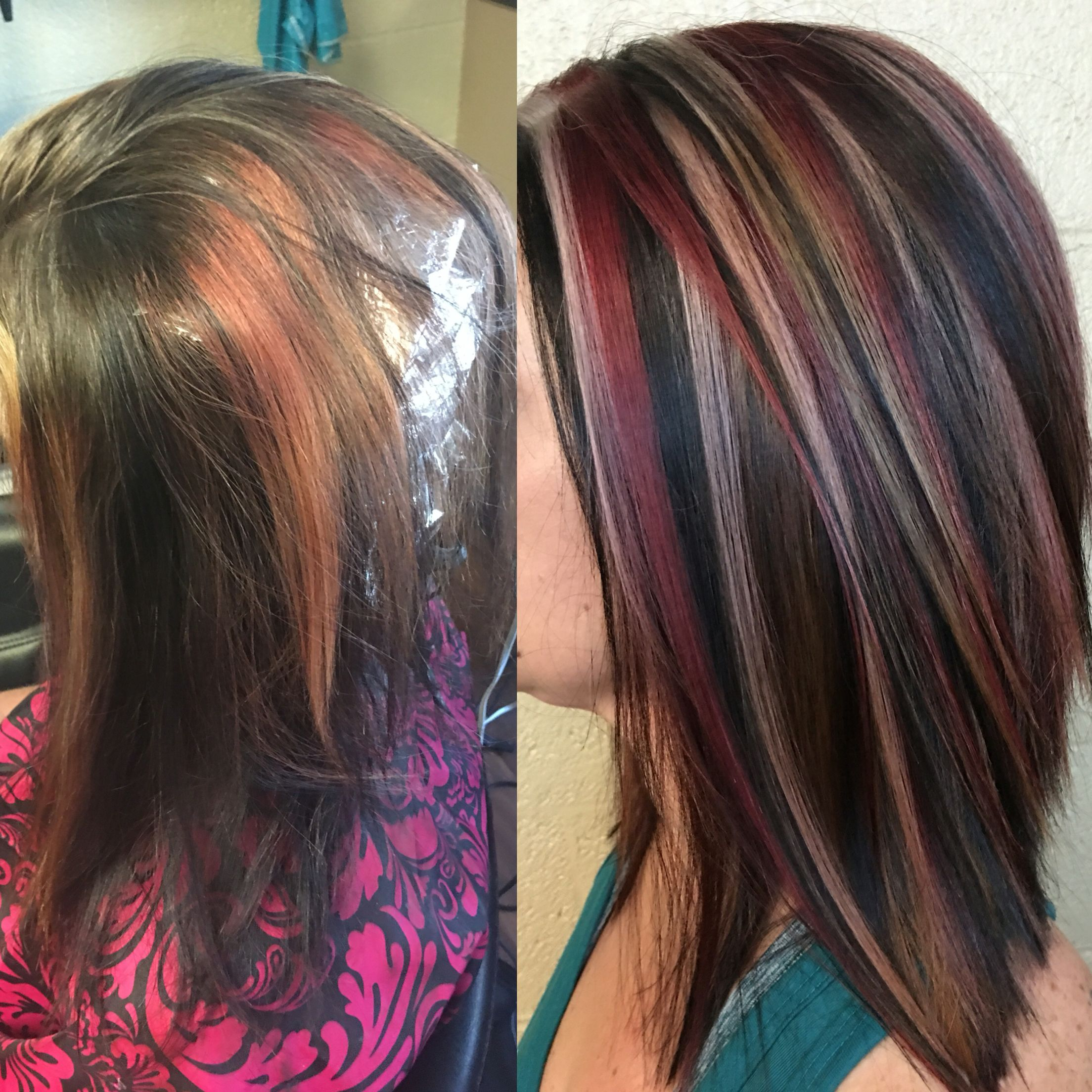 Red black and blonde hair chunky highlight Matrix SoColor ...