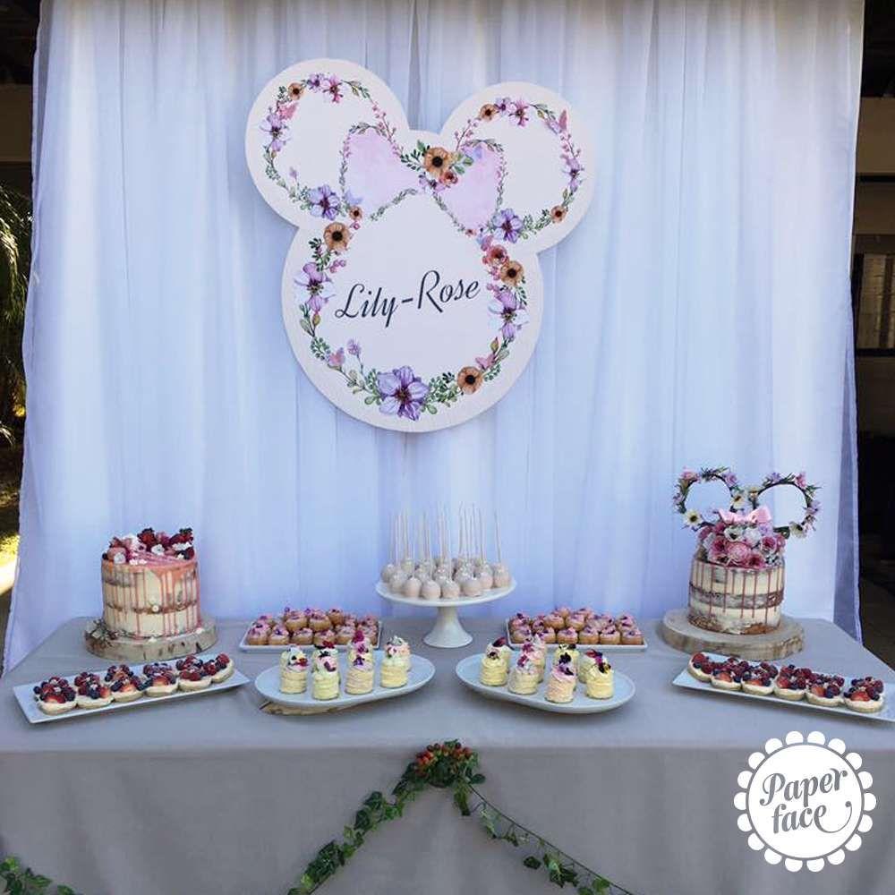 Vintage Minnie Mouse Birthday Party Birthday Party Ideas Photo 1 Of 6 Minnie Mouse Birthday Party Minnie Mouse Party Decorations Floral Birthday Party