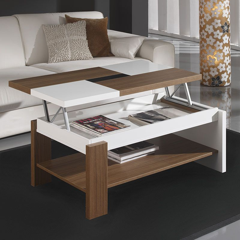 Table Basse Relevable Blanc Et Noyer Contemporaine PAOLA