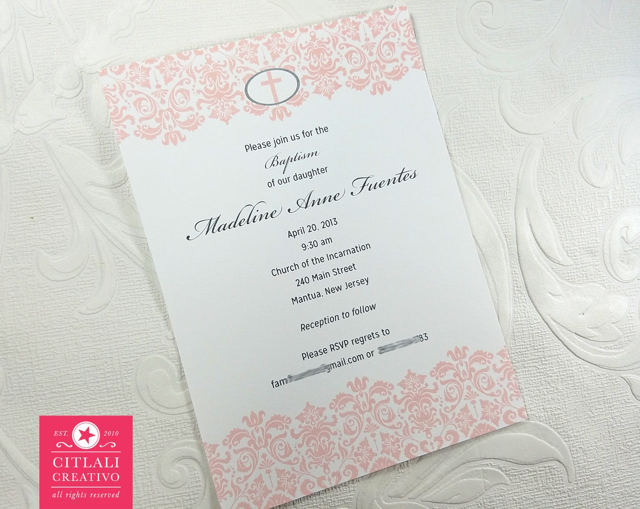 damask cross baptism or christening religious invitation cards