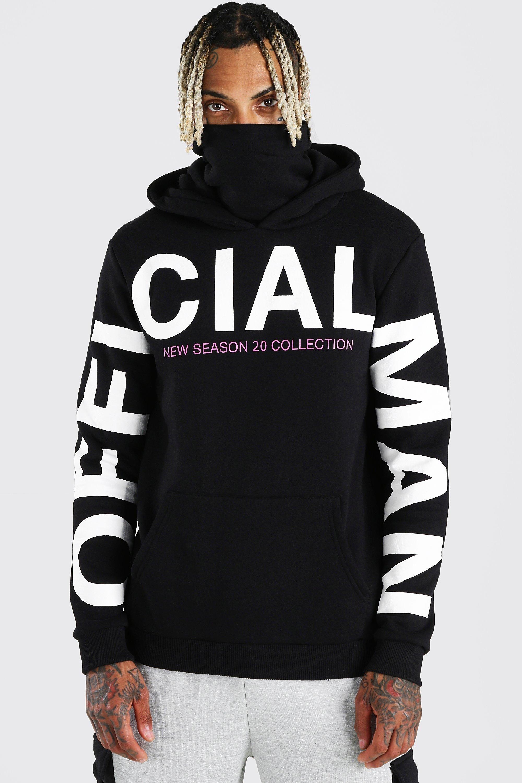 Man Official Sleeve Print Snood Hoodie Boohoo Mens Sweatshirts Hoodie Hoodies Tee Shirt Fashion [ 3000 x 2000 Pixel ]