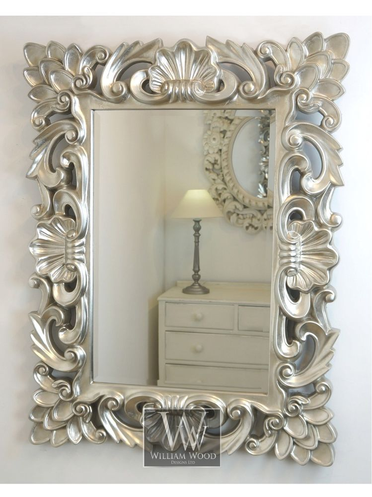 Baroque silver vintage rectangle ornate wall mirror 42 x for Large silver wall mirror
