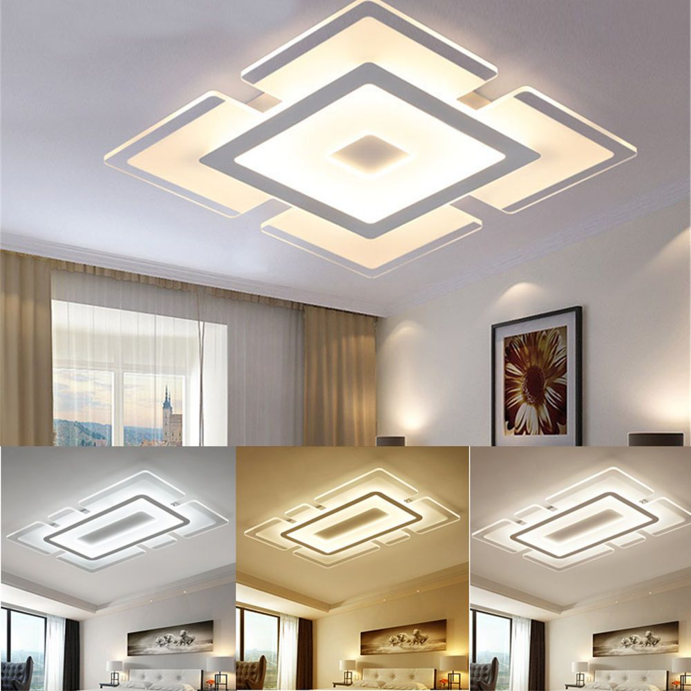 Acrylic Led Ceiling Light Home Lamp Modern Elegant Living Room Bedroom Square Moder Ceiling Lights Living Room Living Room Lighting Ceiling Design Living Room