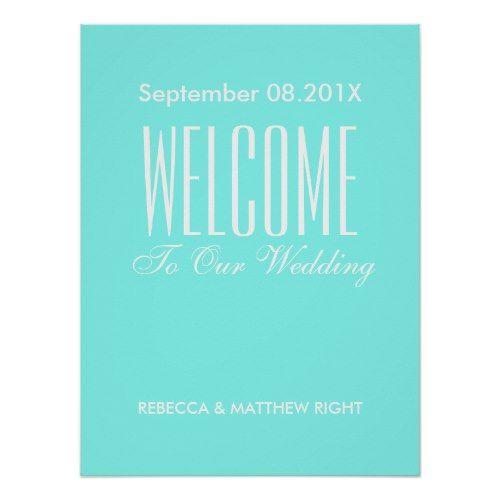 robin's egg blue turquoise aqua blue wedding poster