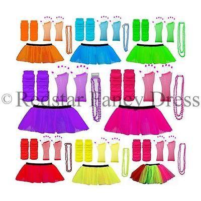 Neon Tutu 4 Layer Blue /& White Skirt 80/'s Fancy Dress Hen Party Fun Run Night