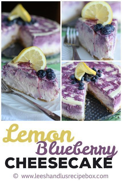 Lemon Blueberry Cheesecake from Leesh & Lu's Recipe Box - perfectly bright and springy - great for an Easter dessert. The texture of this creamy, dreamy cheesecake will knock you off your feet! #lemonblueberrycheesecake