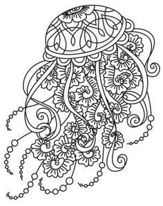 Zentangle Jellyfish Coloring Page Adult My Style