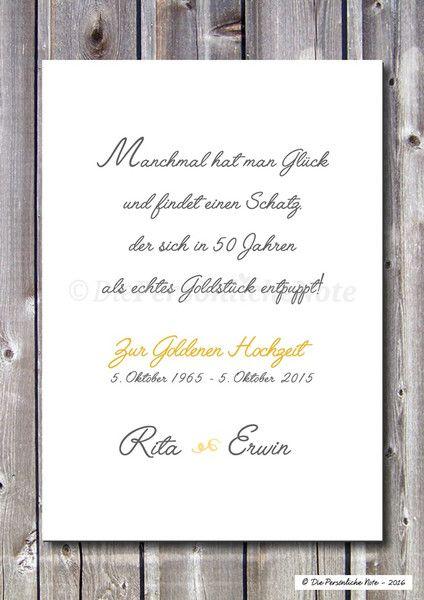 Gastgeschenke Druckprint Goldene Hochzeit 50