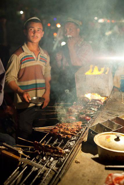 kebab grill at night, Hotan China