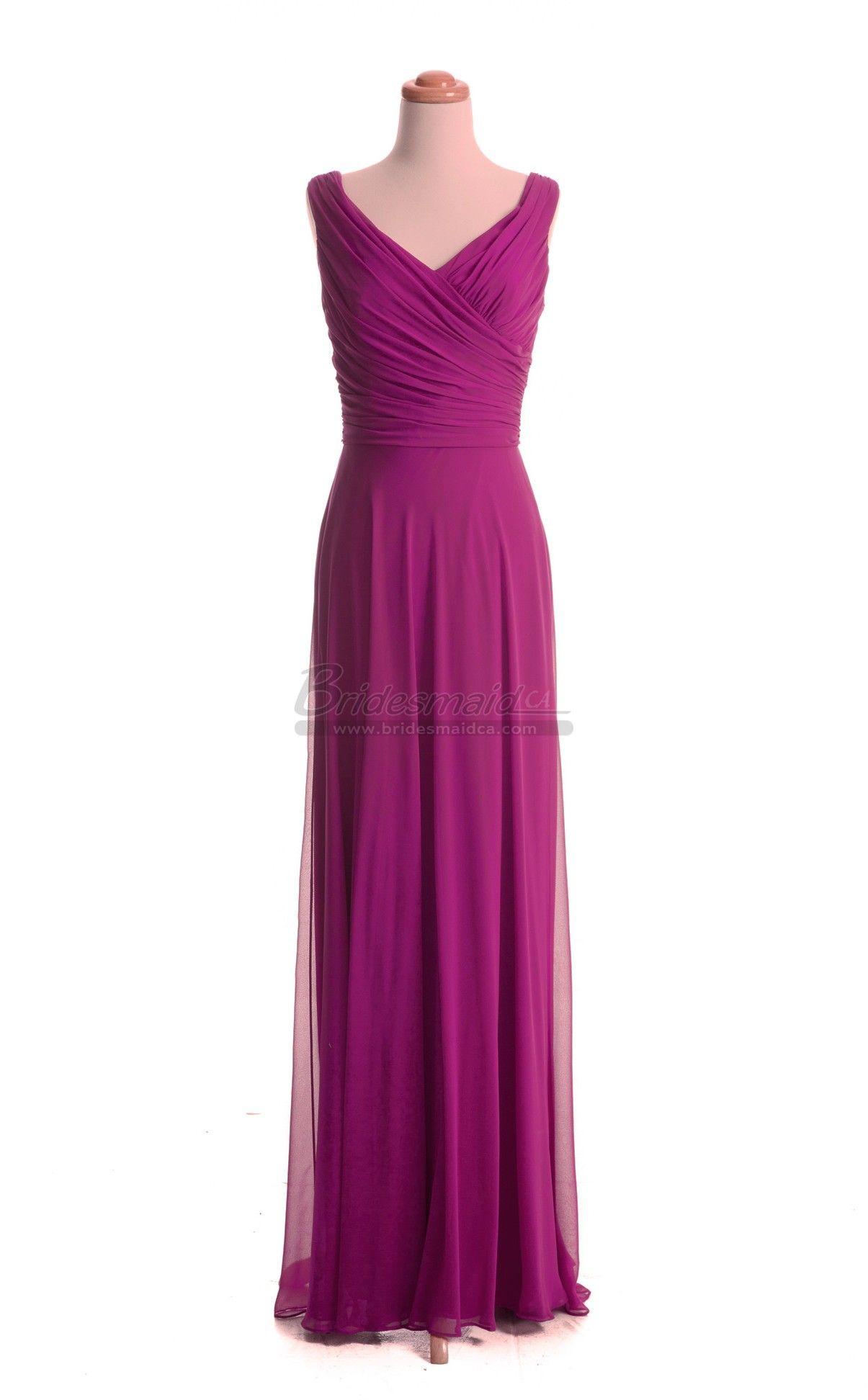 Chiffon V Neck Fuchsia Long Bridesmaid Dress in Purple Dresses BDS ...