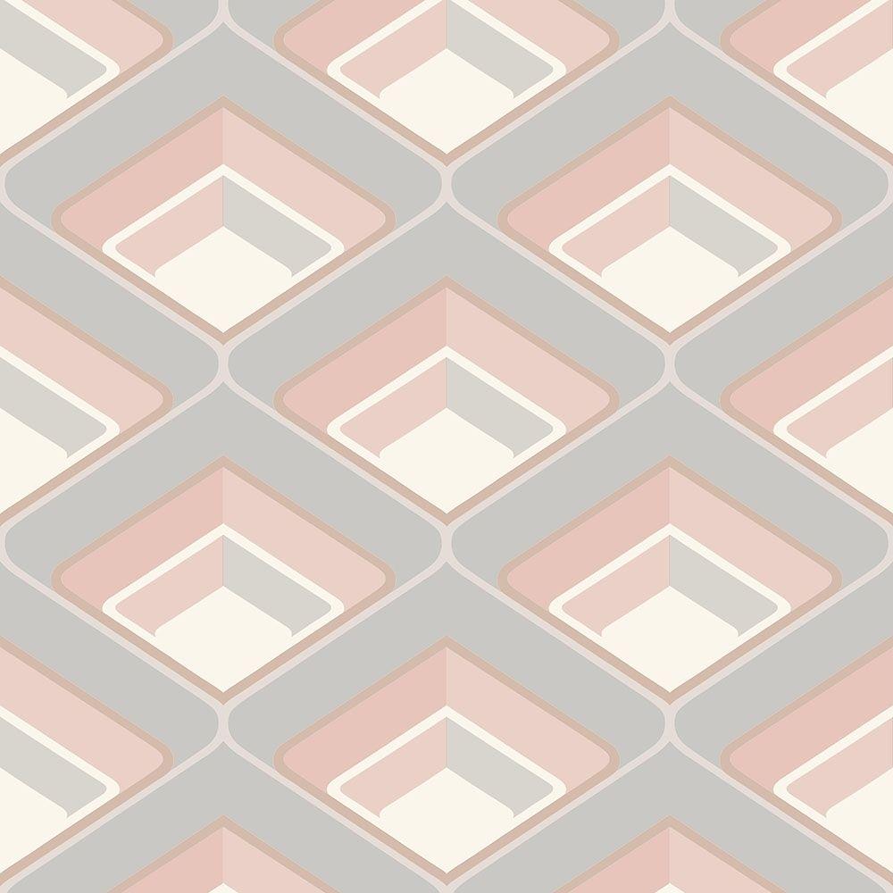 Retro Geometric 3d Effect Wallpaper Blush Blush Wallpaper Love Wallpaper Geometric 3d