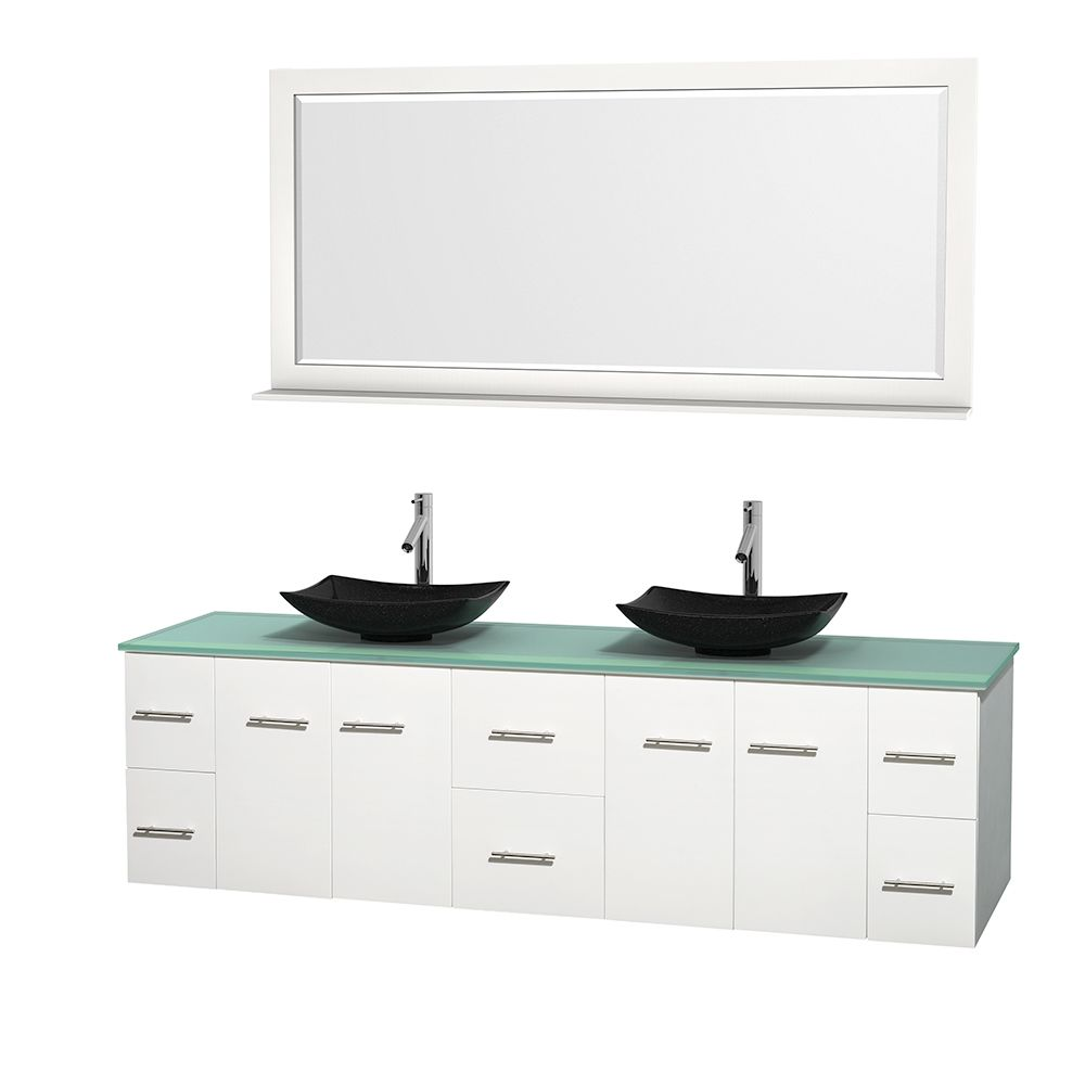 Photos On Wyndham Collection Centra inch Double Bathroom Vanity in White w Mirror Black Granite Ivory Marble or White Carrera White GN Glass Top