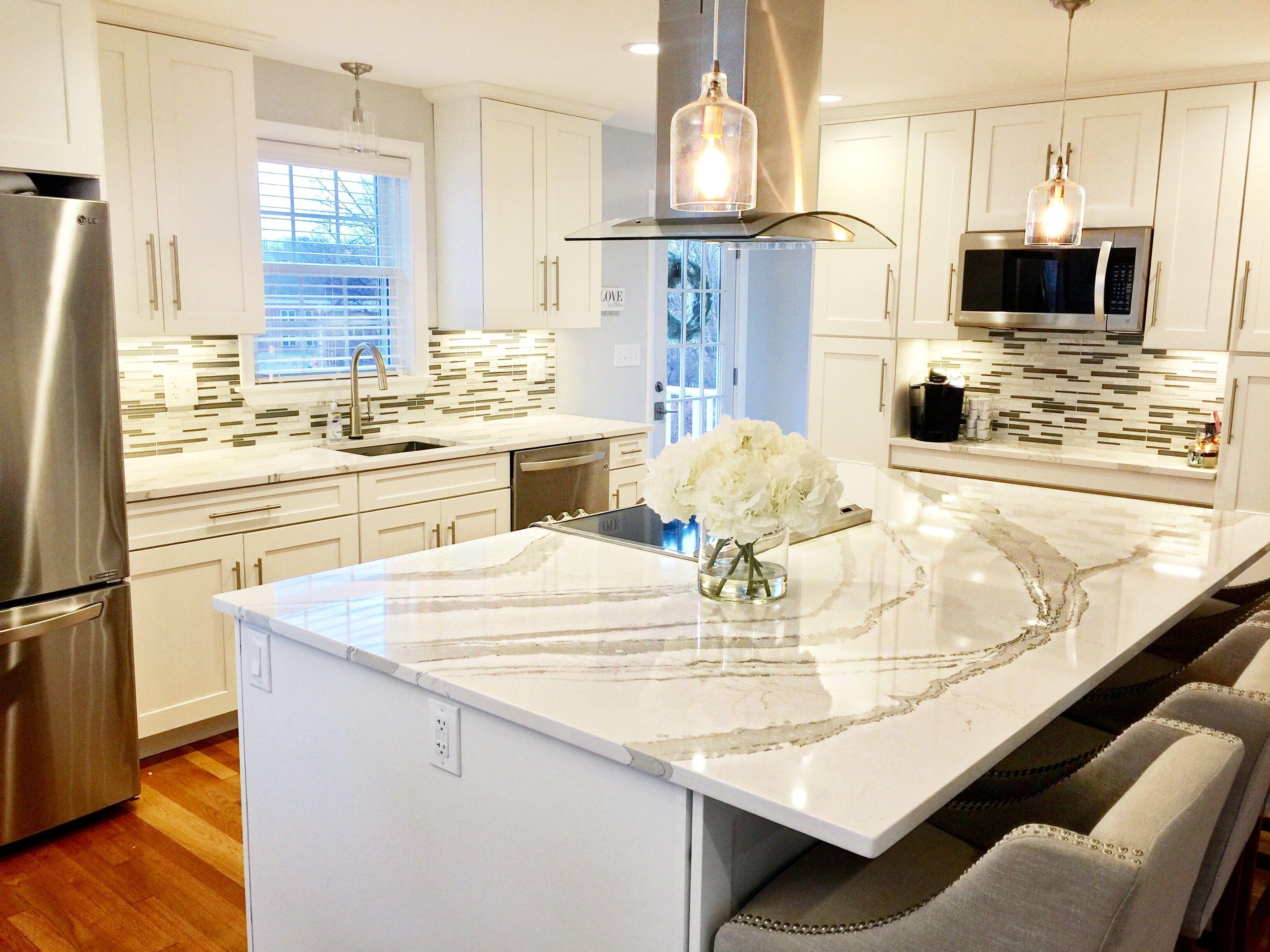 White shaker kitchen cabinets, white and gray Quartz from Cambria ...