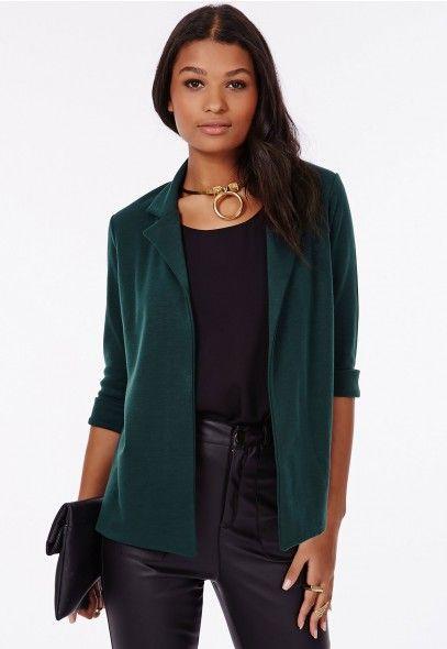 a143d95b6d2 Aiesha Ponte Jersey Blazer Dark Green - Blazers - Missguided ...