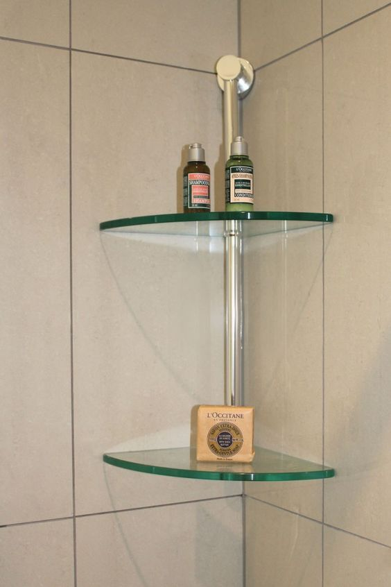 Glass corner shelves in shower love master bath - Bathroom glass corner shelves shower ...